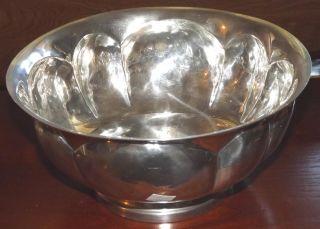 Large Vintage Rare Old Newbury Polished Pewter Centerpiece Pedastal Bowl photo