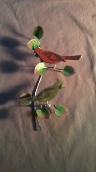 Vintage Antique Rare Enamel Copper Red / Black Cardinal Bird Wall Mount Hanging photo