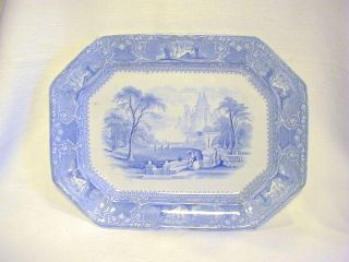 Antique Lazere Ironstone Blue On White Large Eight - Sided Platter photo