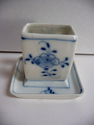 Hand Painted Antique Vtg Blue Onion Germany Floral Match Holder Blue & White photo
