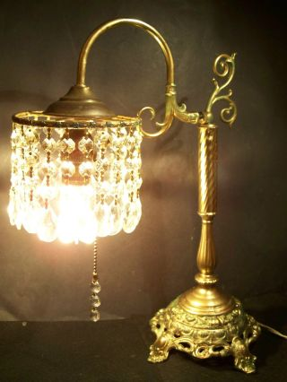 Exquisite Antique Victorian Table Or Desk Lamp W/cut Crystal Lustres,  1920s photo