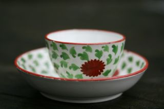Fine Early 19thc.  Georgian Period Creamware Hand Decorated Tea Bowl/saucer C1800 photo