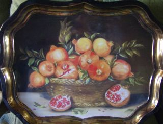 French Chic Ian Logan Basket Of Pomegranates Lithograph Tray photo