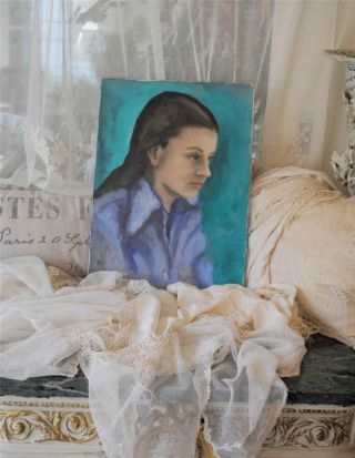 Old Vintage Portrait Oil Painting On Canvas Of A Girl ~ Display Decor photo