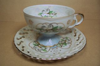 Vintage Lefton China Teacup Tea Cup & Saucer,  6