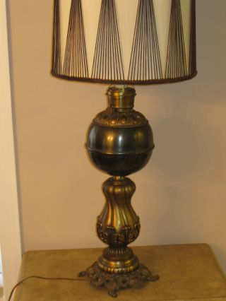 41 ' Tall Vintage Black Metal Globe Table Oil Lamp With Shade photo