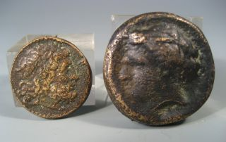 2 Greek Syracuse Style Bronze Medallions W/ Eagle & Horses Early 20th C. photo