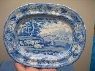 Antique English Pearlware Blue - White Transferware Cattle - Manor Porcelain Platter photo