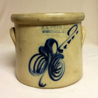 Antique Stoneware: Rare Fb Norton & Co.  1gal.  Crock W/ Cobalt Floral,  Ex photo