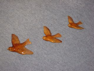 Vintage Ceramic Birds Collectable Eames Era Set Of 3 Antique Porcelain Swallows photo
