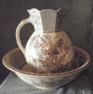 W & Co Hanley Transfer Ware Pitcher & Basin Set photo