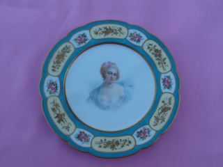 Early 19th C Sevres French Female Aristocrat Portrait Plate ~ Double Louis Mark photo