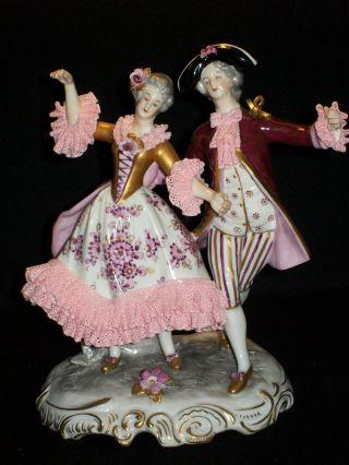 Antique German Porcelain Volkstedt Dresden Lace Lady Man Dancer Couple Figurine photo
