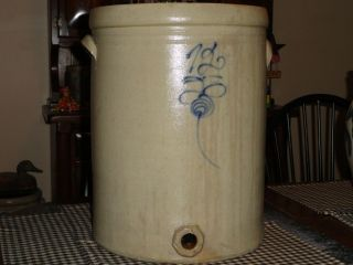 Antique Stoneware Blue Decorated 12 Gallon Dispenser Crock,  Red Wing? photo