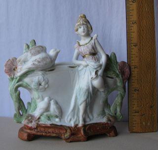 Victorian Bisque Fairing / Holder ~ Maiden W Pitcher,  Flowers & Doves photo