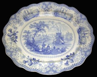 Huge Early 1830 S Blue Transferware Platter Commerce 19 1/4 X 16 7/8 Nr photo