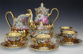 19c Austrian Bohemian Porcleain 7 Piece Tea Set By Giesshuebl photo