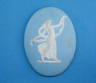 C1800s Wedgwood Jasperware Classical Lady Figure Oval Plaque photo