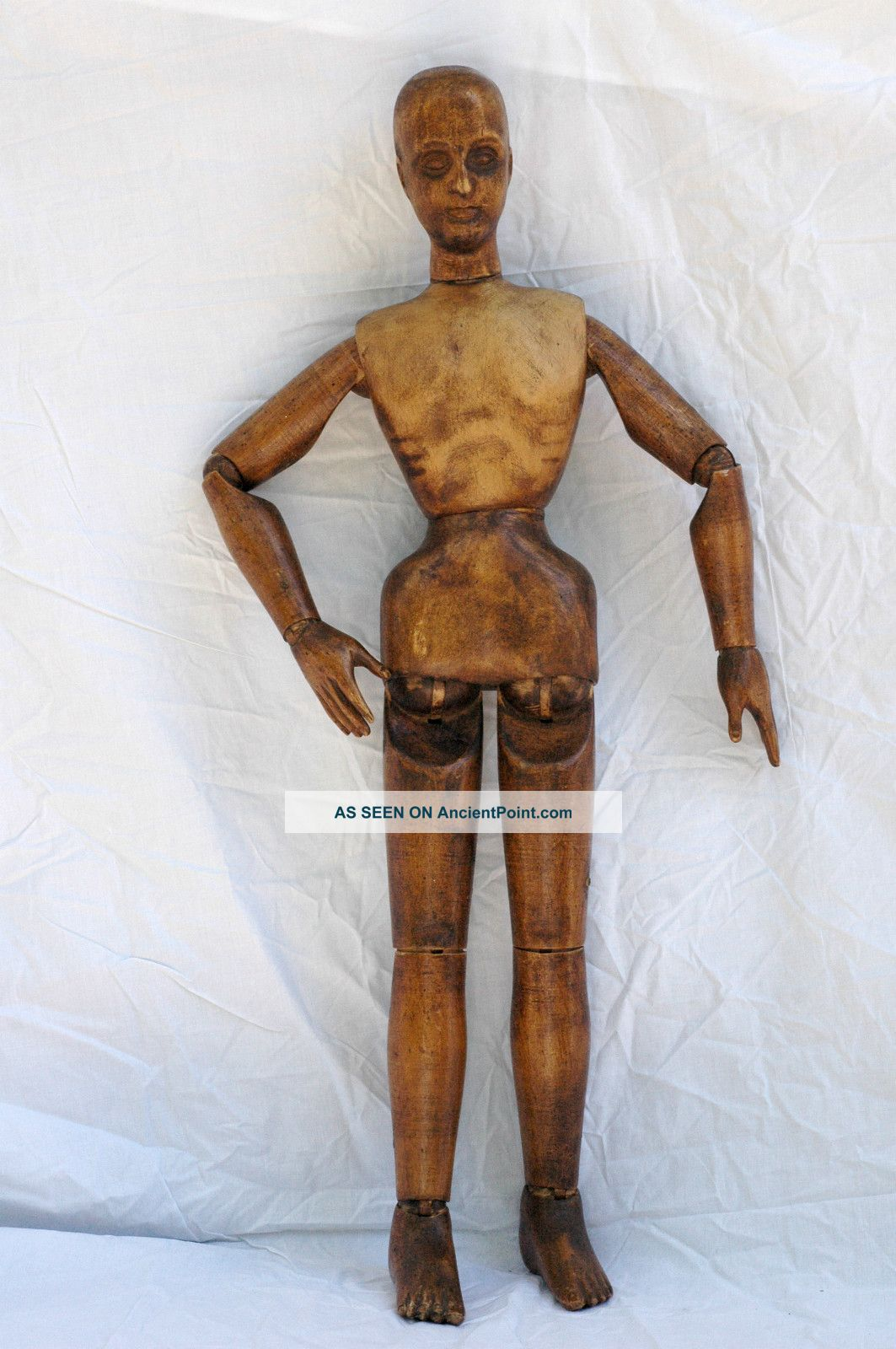 Large Vintage Artist ' S Wooden Lay Figure Carved Figures photo