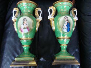 Antique Kpm Sevres Royal Vienna Porcelain Portrait Vases photo