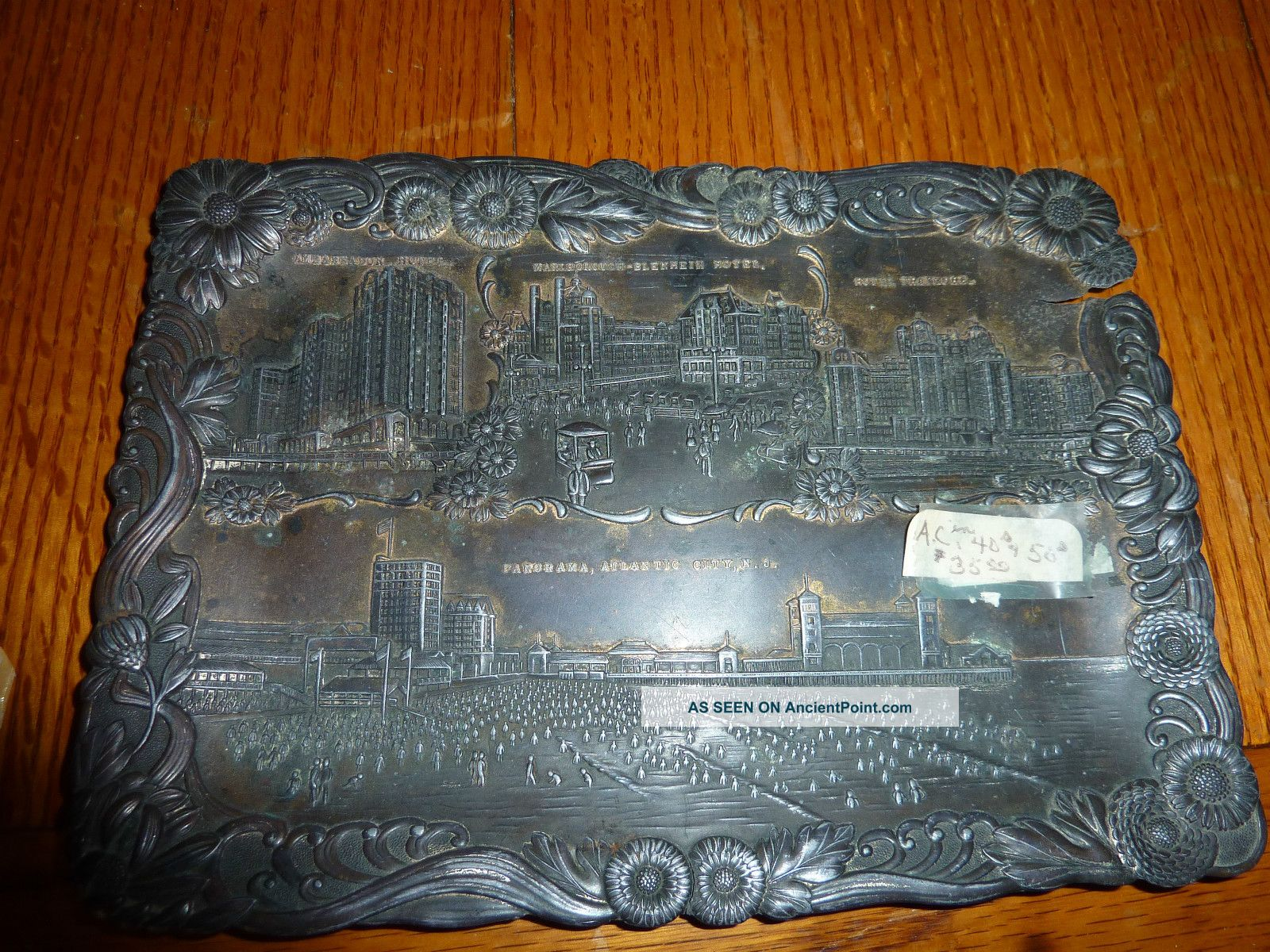 Vintage Atlantic City Souvenir Metal Tray,  Made In Japan For Ac Bosselmann Metalware photo