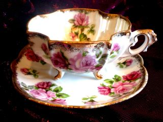 Unique Square Napco Hand Painted 3 Footed Teacup Pink Rose Cup And Saucer photo