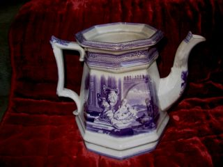 Very Rare English Transferware Flow Blue 4 - Sided Teapot photo
