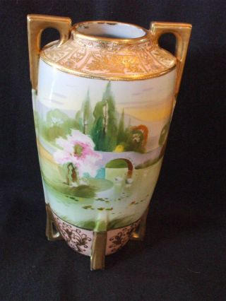 Hand Painted Nippon Vase - Bridge With Swans - Gold Moriage - Jeweled photo