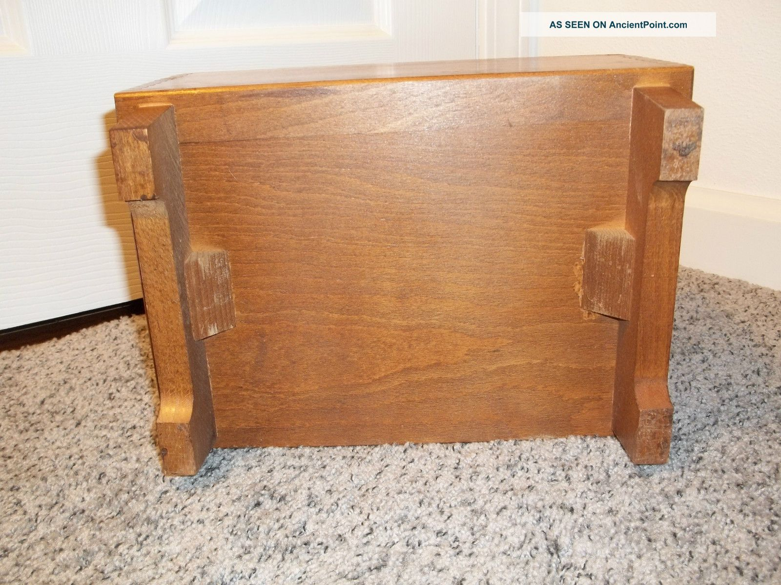 Superb img of Vintage Amcrest Dovetailed Wooden Shoe Shine Box Made In Italy With  with #28170E color and 1600x1200 pixels
