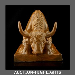Powerful + Masculine Huge Art Deco Pottery Bull Sculpture Buffalo Bison photo