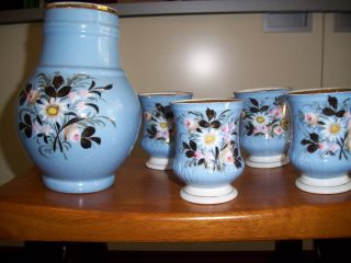 Antique European Robin ' S Egg Blue (unique Style) Pitcher & 6 Matching Cups. photo