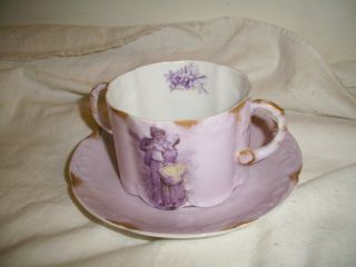 Antique Rosenthal Monbijou Helios Lavender Portrait Double Handle Cup & Saucer photo