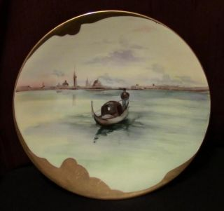 Antique Jpl Limoges France H.  Painted Porcelain Plate Gondola Harbor Boat Scene photo