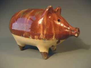 Very Fine Rare Scottish Scotland Pottery Glazed Piggy Pig Bank Ca.  19th C. photo