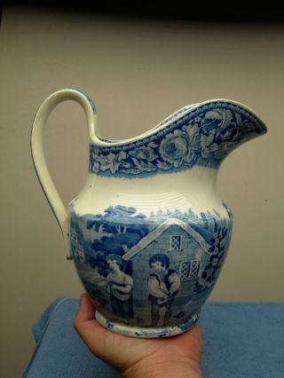 Antique Blue - White Transferware Scene Porcelain Water Pitcher~rooster Chickens photo