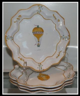 Unusual Moustiers Faience Pottery Plate Set Hot Air Balloons Bergdorf Goodman photo