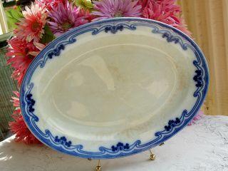 Antique Grindley Semi Porcelain Platter ~ Flow Blue Idris photo