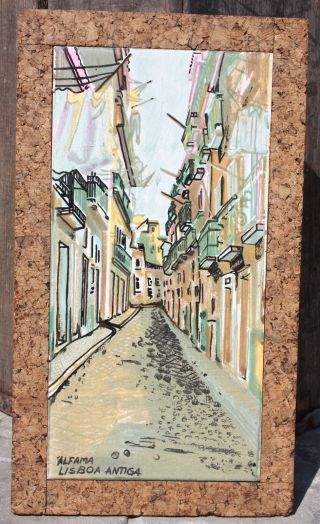 Vintage Large Hand Painted Ceramic Tile Lisboa Framed With Cork photo
