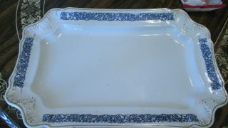 Large Ironstone Platter W/ Blue Transfer Design With Gold Trim 19