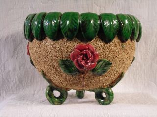 Antique Late 19th C.  English Majolica Jardinere Salt Rolled Glaze 3 - D Decoration photo