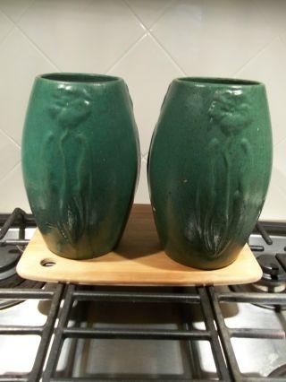 Rare Pair Hampshire Art Pottery Vase Pot Matte Green 101 photo