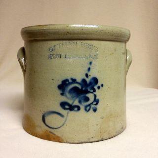 Antique Stoneware: Scarce Ottman Bro ' S.  (ny),  1gal.  Crock W/ Cobalt Floral,  Ex photo