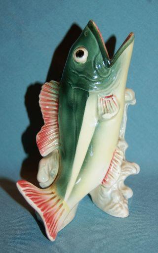 Vintage Japan Porcelain Ceramic Pottery Game Fish Bass Trout Figurine/vase photo