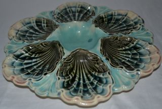 Rare Antique French Majolica Oyster Plate Fives Liles 1880 Vintage Rare photo