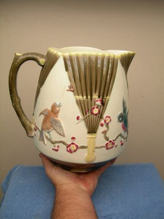 19th Century Antique Majolica Pottery Josiah Wedgwood Large Water Pitcher photo