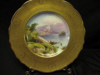 Antique Cauldon Cabinet Plate Painter D Birbeck Acid Etch Gold Border Killarney photo