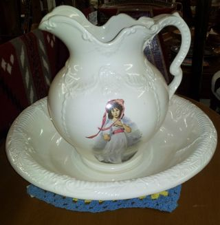 Antique Pitcher And Wash Basin photo