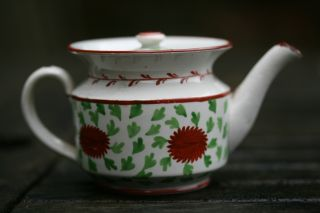 Fine Early 19thc Georgian Period Creamware Hand Decorated Miniature Teapot C1800 photo