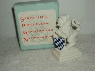 Porcelain Statue Figurine Of Lion Blue & White Shield Nymphenburg Germany W Box photo