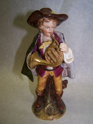 Antique German Ernst Bohne & Sons Figurine,  Boy With French Horn 1901 - 1920 photo
